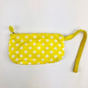 American Eagle Yellow Polka Dot Canvas Wristlet